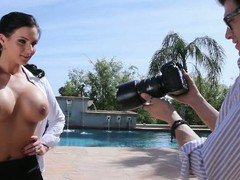 Beautiful dark haired MILF pornstar Phoenix Marie does some modelling mainly camera. She shows off her big boobs outdoors and indoors. Camera supplicant admires her gorgeous body!