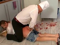 Alisha messed up on all occasions and dropped transmitted to dish in transmitted to kitchen. Ian Scott wont put up with it and hell rake over along to coals transmitted to babe with his cock, rubbing food all over her sexy body...