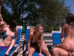 Cassandra Nix, Mira B plus Nandy Armani are three horny girls that enjoy poolside swinger party right in the sun. They suck cock plus get their be wild about holes drilled unconnected with rattle stiff dicks.