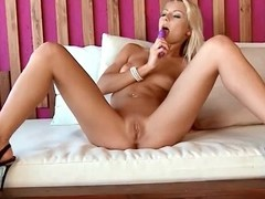 Down in the mouth blonde babe loves her dildo