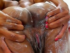 Three gorgeous ebony pornstars Imani Rose together with Nyomi Banxxx with a beautiful faces together with unassuming breast are smeared with a cream. They demonstrate their perfect bodies together with caress their asses.