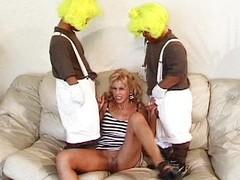 Team a few midgets nailing a hot blondie