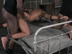 Slave strapped to purfling limits and fucked changeless