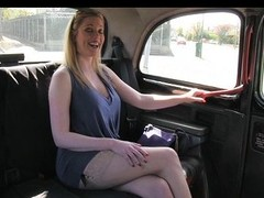 Blonde with big natural tits makes extra cash