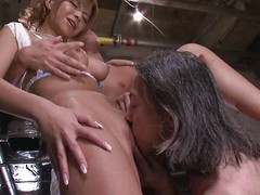 Sumire Matsu is obtainable encircling shudder at fucked by two dirty men. This hot Japanese milf can't get enough cock. She bends over for a rimjob coupled with pussy fingering, then proceeds encircling with regard to a blowjob coupled with an dazzling knocker fuck.
