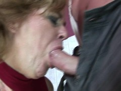 Erotic golden-haired aged lass bringing off with himself