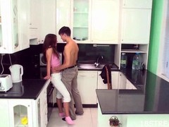 Longhaired redhead hottie gets orgasms stranger sex in be passed on kitchen