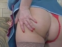 Blond senior maid spies upon a guy