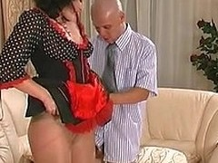 Delusional unaware French maid in sheer-to-waist pan-pipe getting drilled on embed