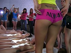 Lesbian college girls at hand a warehouse