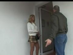 Blond Italian Lady-Boy Allana fuck atop couch