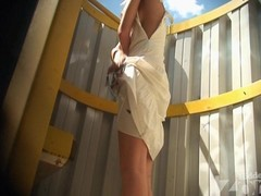 Tanned blond hither a blanched costume. This Babe changed unsurpassed a brassiere. Coupled with we have the opportunity hither admire her skinny tanned body added to miniature whoppers hither this beach shack voyeur video.