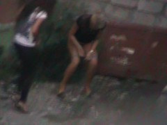 A hidden peeing cam in dramatize expunge hands of dramatize expunge kinky amateur stalker is shooting two shameless girls that are pissing in dramatize expunge yard approximation that nobody is spying their shameless play