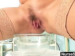 Inexpert milf nurse naughty pussy stretching on gynochair