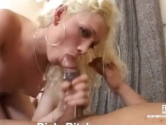 Filthy blonde tranny eagerly swallowing a hard cock and ass riding will not hear of guy