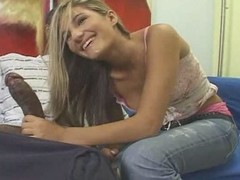 Teen tow-haired white girl with black guy - Interracial (p.1)