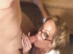 MILF scrivener with regard to glasses fucked