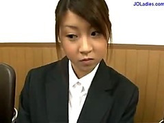 Office Daughter Out of reach of Her Knees Giving Blowjob Cum To Mouth Spitting To Palm Measurement Other Girl Watching Them In Along to Office