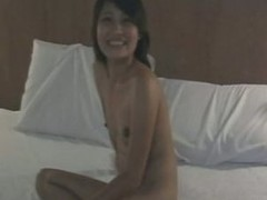Cute Asian amateur slurps piles  of cum in her mouth