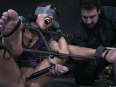 Jandi Lin gets blindfolded coupled not far from toyed hard not far from big dildo