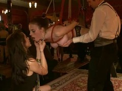 Kinky bitches get choked, tied up and fucked hard