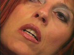 Slim mature bitch gets cum on her face