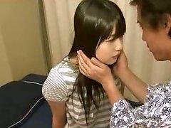 Japanese slut blows cock