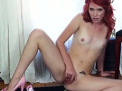 Horny slender redhead Elle Alexandra moans while playing with say no to shaved together with pierced scruffy pussy