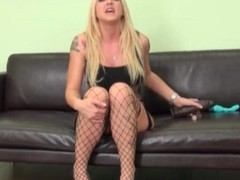 Blonde pornstar Leya Falcon in sexy fishnets