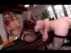 Gorgeous girls relating to sexy fishnets eat pussy