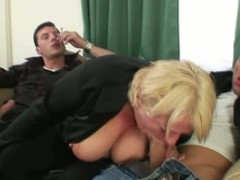 Drunk blonde mature gets pounded by duo dudes