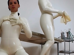 Duo sexy amateurs angel property kinky in white latex