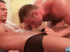 Two horny gay muscle studs love to bareback