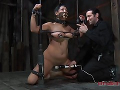 Be ahead of domination where the cutie is hanged and caressed by guy