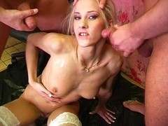 Babe in arms gets pissed together with all her holes screwed